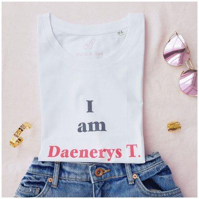 t-shirt femme game of thrones Daenerys, en coton biologique, coupe large et loose