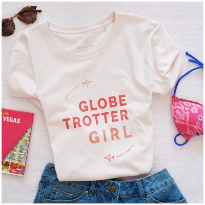 T-shirt Globe Trotter Girl rose, créateur Maia Zoé