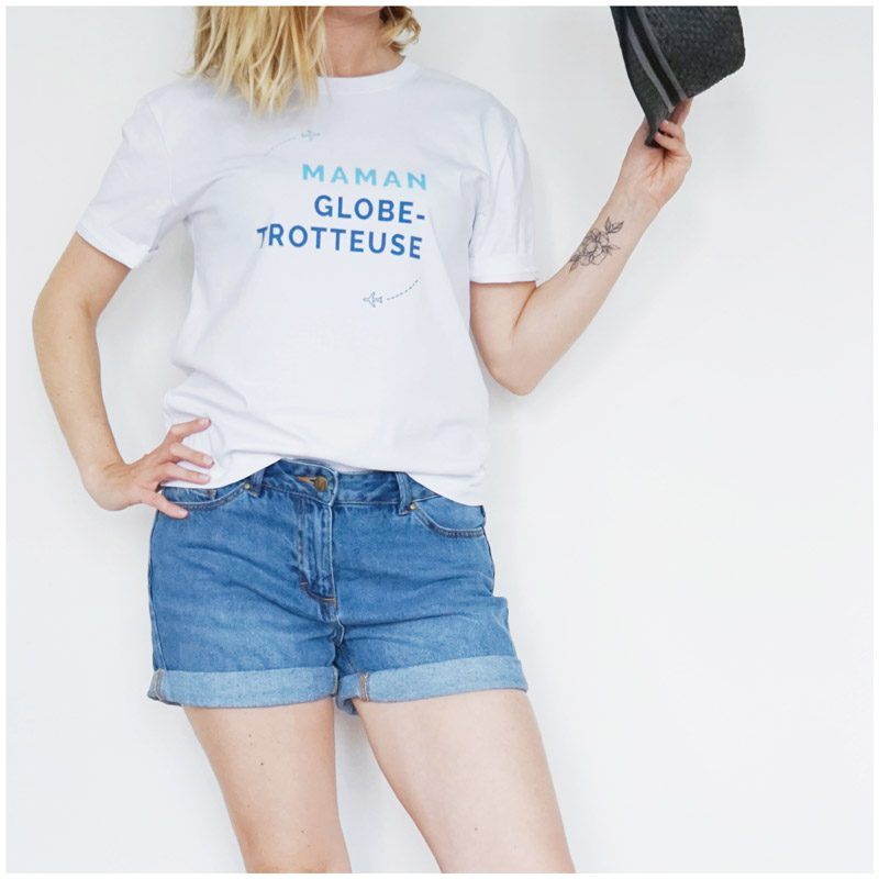 T-shirt Maman Globe Trotteuse, créateur Maia Zoé, cadeau départ vacances