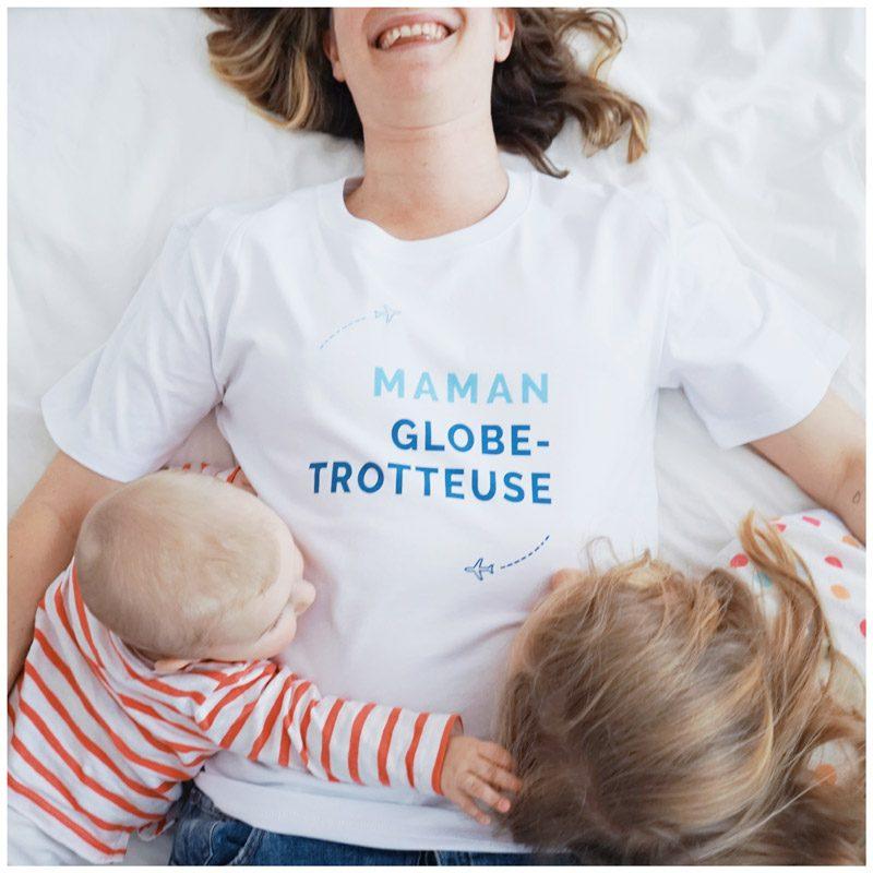 T-shirt Maman Globe Trotteuse, créateur Maia et Zoé, cadeau pour voyages.