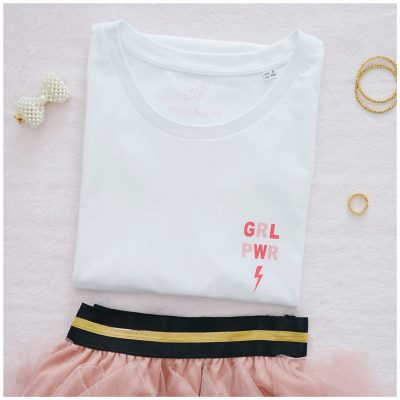 t-shirt femme girl power, rose et loose
