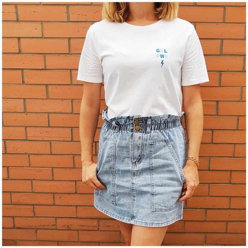 tee-shirt blanc girl power bleu