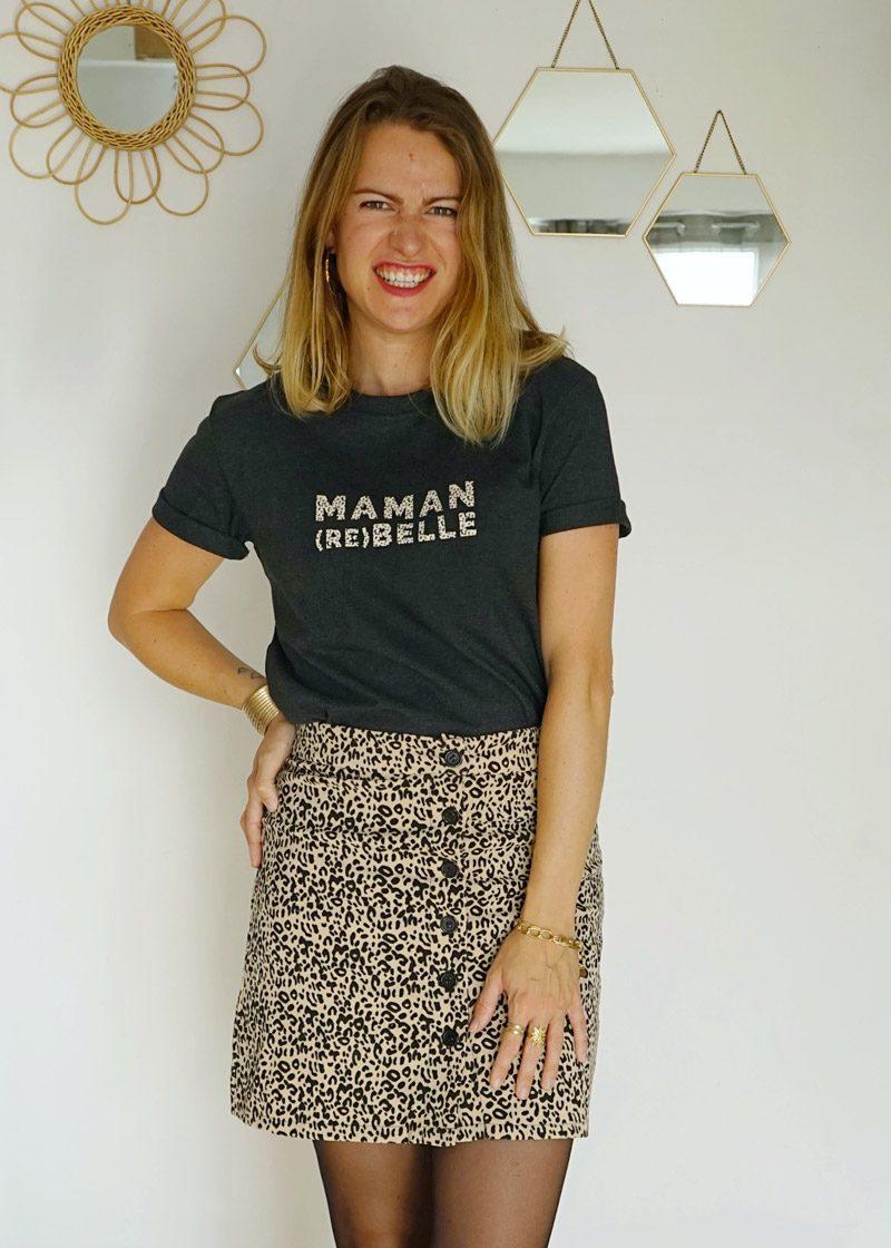 Tee-shirt maman rebelle motif leopard et jupe leopard
