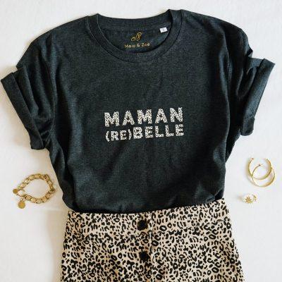 T-shirt maman rebelle leopard et gris chiné. Cadeau idéal pour maman pour Noël