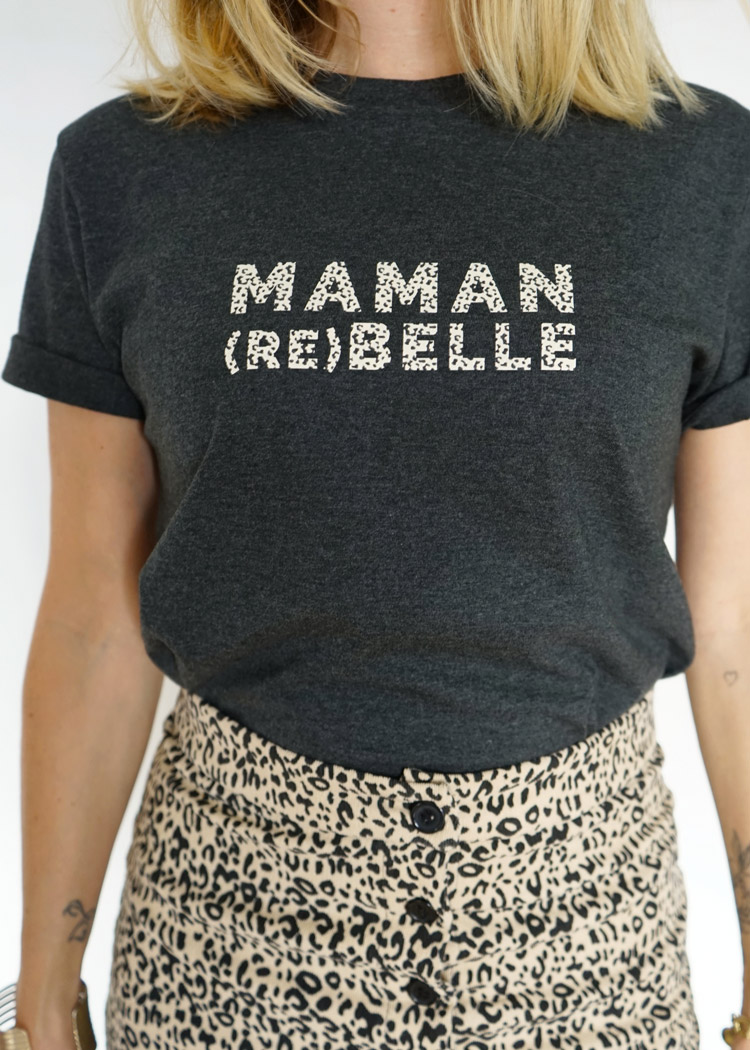 Tee-shirt maman rebelle, cadeau parfait à offrir à sa maman pour Noel ou fête des mères