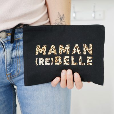 pochette noire Maman rebelle leopard, cadeau pour fête des mères ou anniversaire maman
