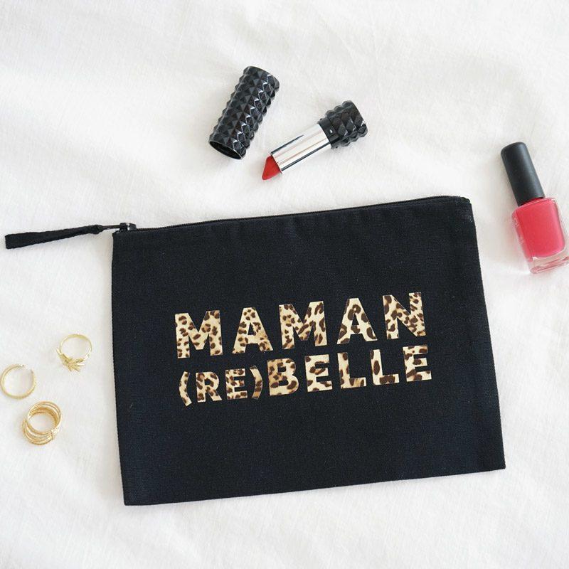 pochette noire maman rebelle leopard. Cadeau parfait pour Noel ou anniversaire