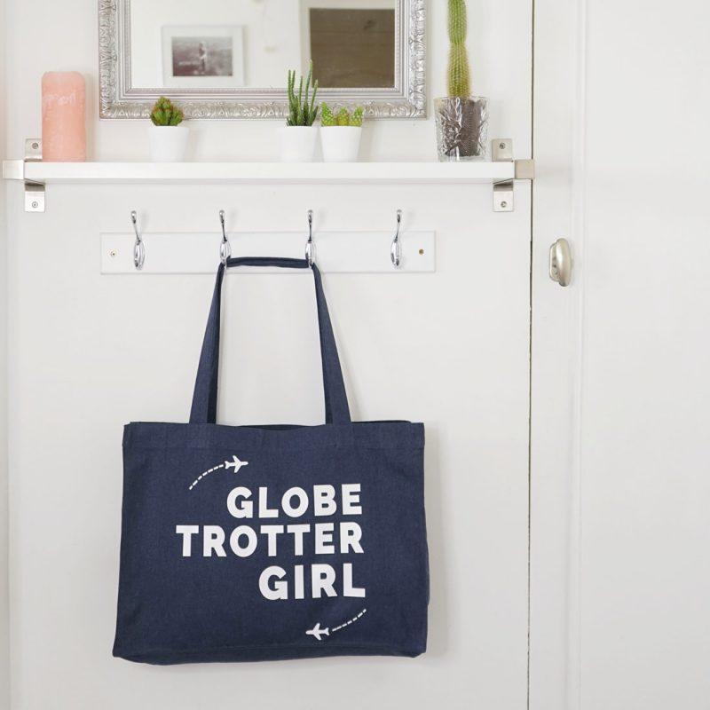 Tote Bag XL Globetrotter Girl. Cadeau idéal pour partir en voyages