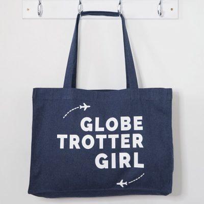 """Tote Bag XL Globe-trotter Girl. Cadeau id""""al pour un tour du monde"""