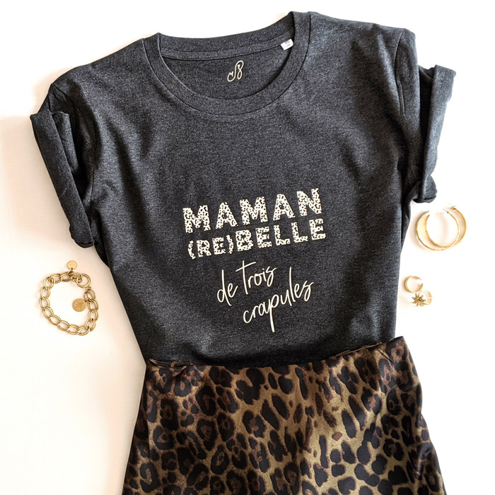 Tee-shirt maman rebelle, pour toutes les mamans de trois enfants