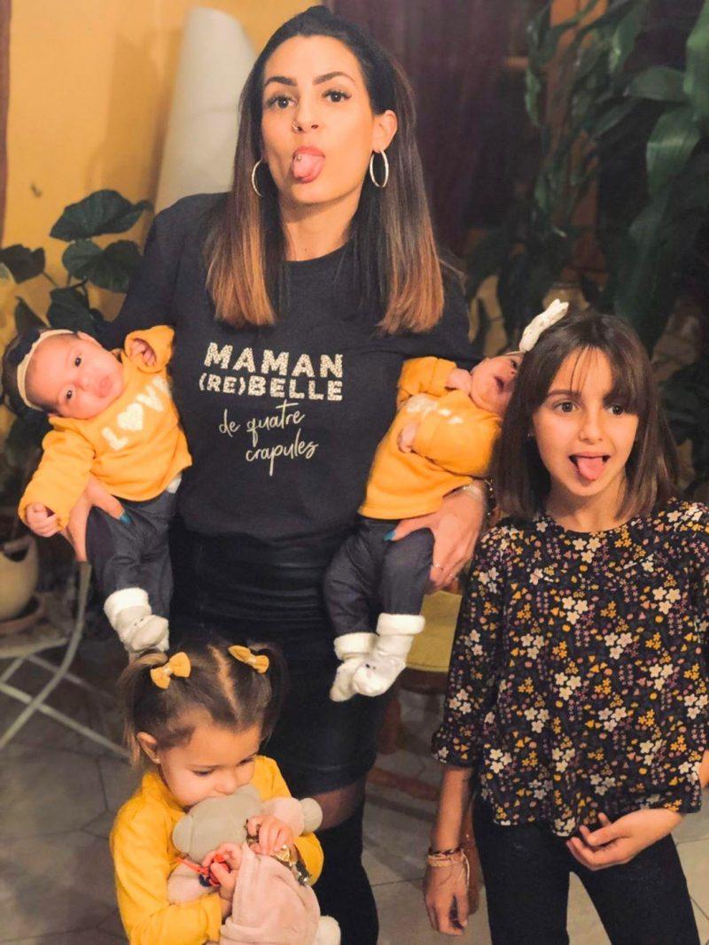 Justine de l'émission Les Mamans sur 6ter porte fièrement notre t-shirt maman rebelle de crapules. Création originale Maia et Zoé.