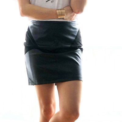 jupe rock tendance en simili cuir
