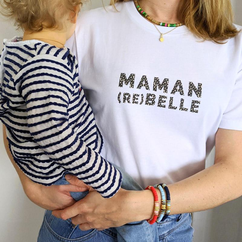 T-shirt femme à message pour maman rebelle. Cadeau maman pour fête des mères, anniversaire, naissance.