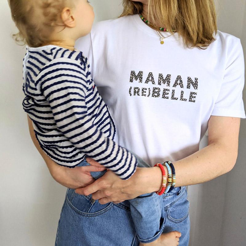 Tee-shirt à message pour une maman rebelle. Cadeau idéal pour une maman pour fête des mères, naissance