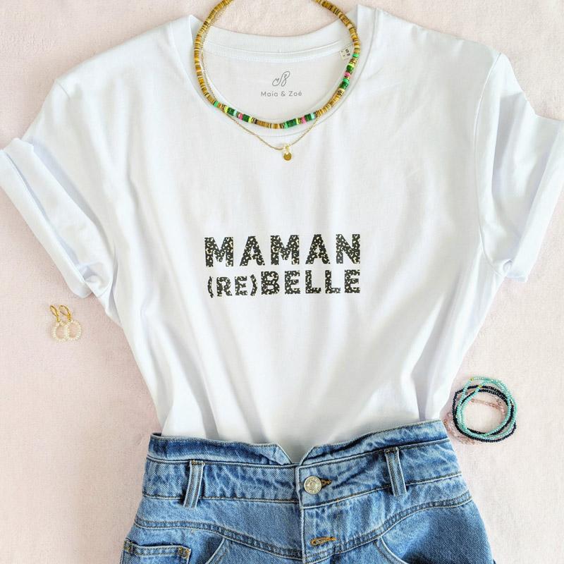 T-shirt pour une maman rebelle. Ce t-shirt est le cadeau parfait pour une femme pour la fête des mères ou pour une babyshower