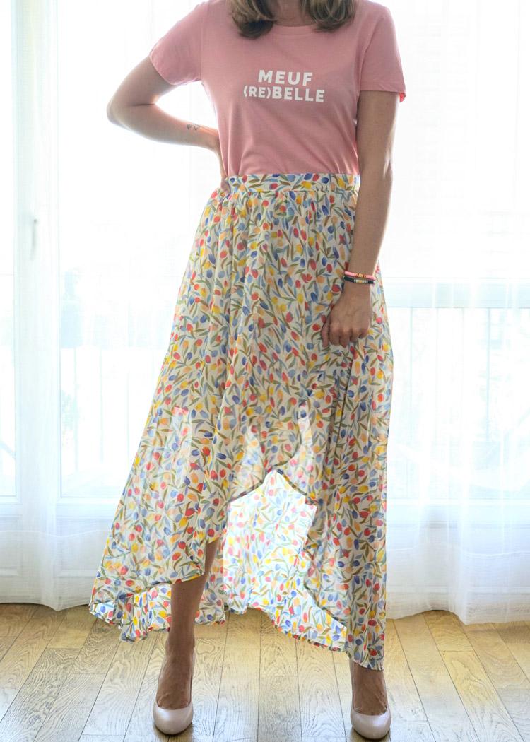 Jupe longue vaporeuse au motif fleuri, très frais pour la saison printemps/été
