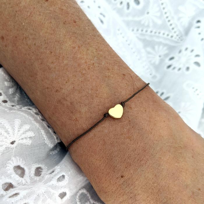 Bracelet petit coeur doré à personnaliser avec le nombre d'enfants