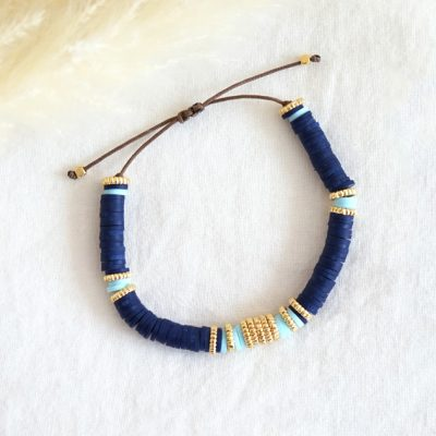 Bracelet tendance à l'esprit bohème choc en perles heishi bleu nuit et turquoise