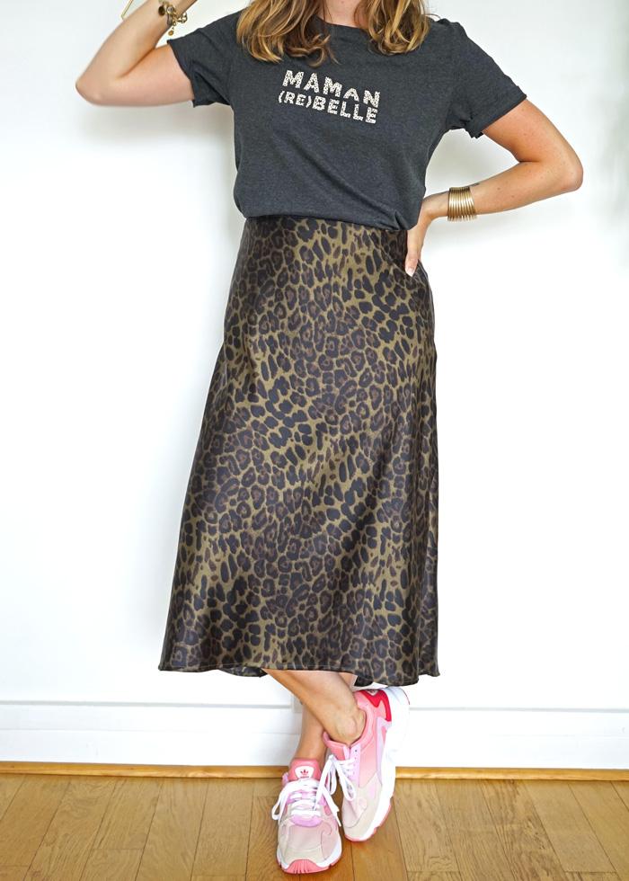 Jupe satinée Claudia imprimé leopard et satin