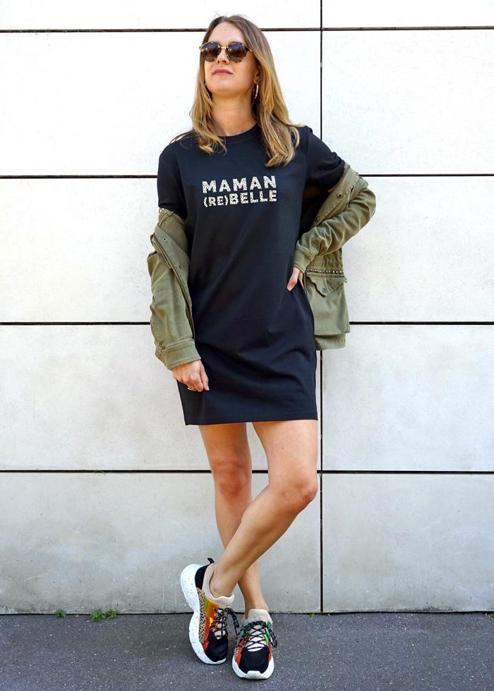 Robe t-shirt maman rebelle, cadeau parfait pour une maman pour un anniversaire ou une naissance