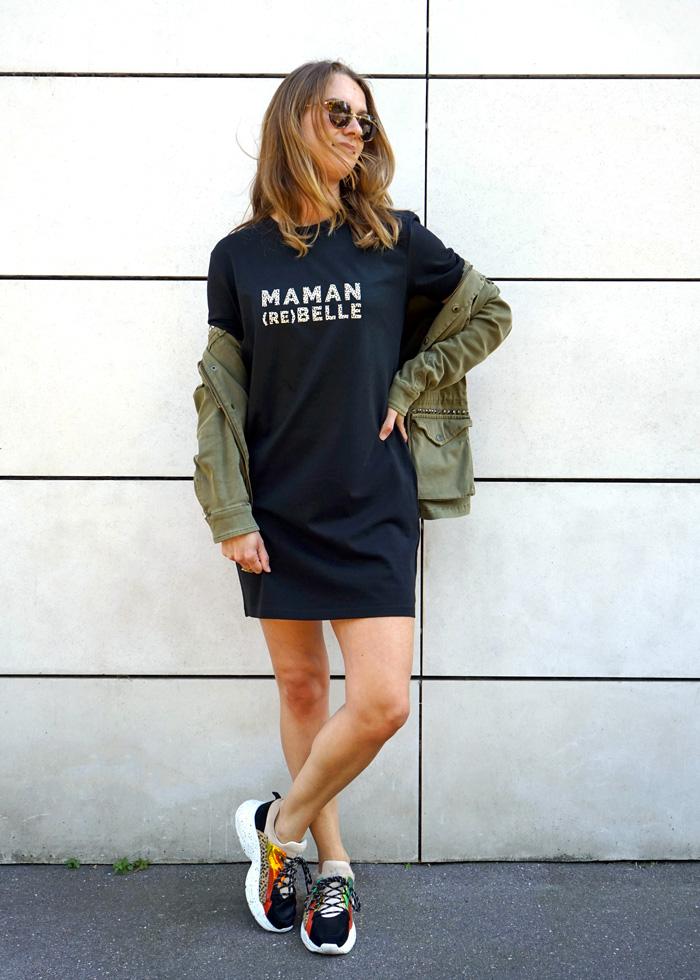 Robe t-shirt à message maman rebelle, cadeau parfait pour une maman pour un anniversaire ou une naissance