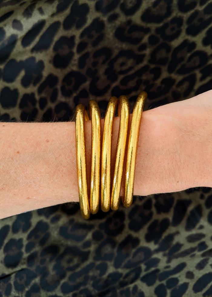 Bracelet jonc temple bouddhiste porte-bonheur à mantra gravé couleur gold
