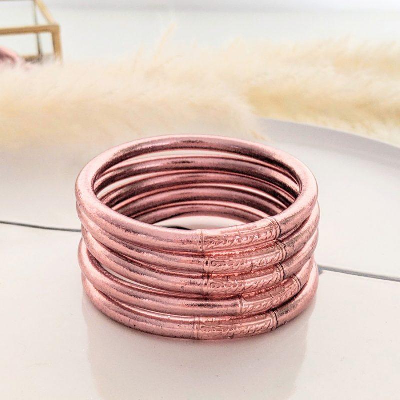 Bracelet bouddhiste porte-bonheur à mantra couleur rose gold