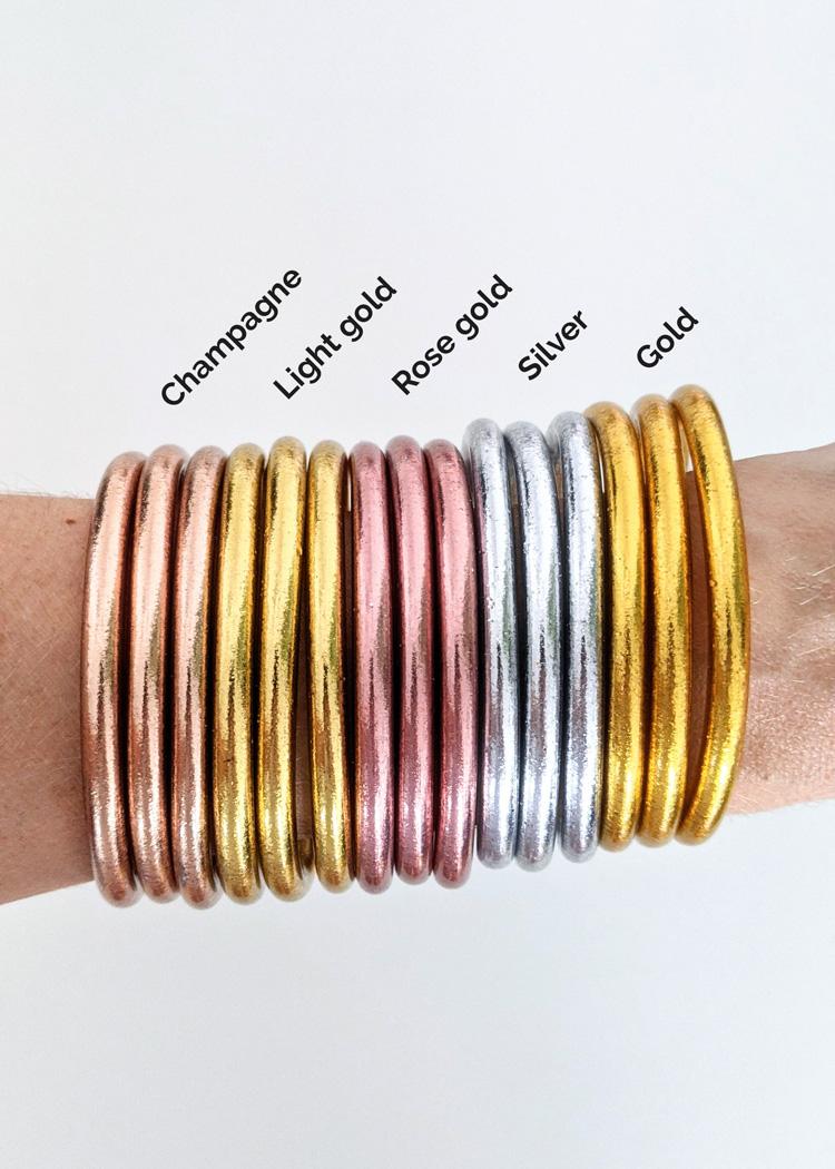 Bracelet jonc bouddhiste doré, rose, argenté