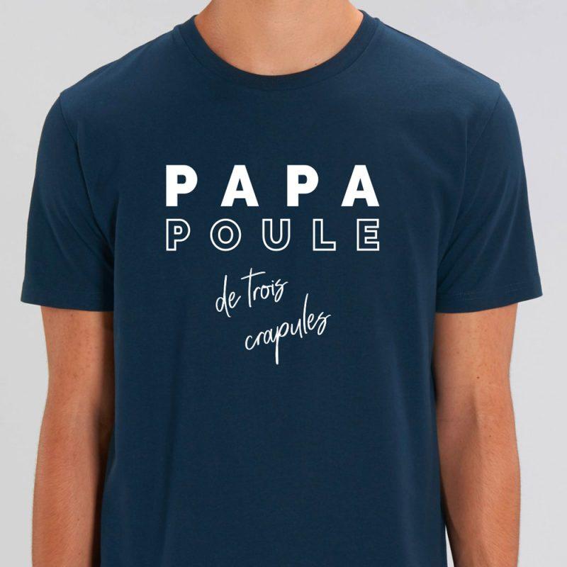 t-shirt bleu marine papa poule de 3 crapules