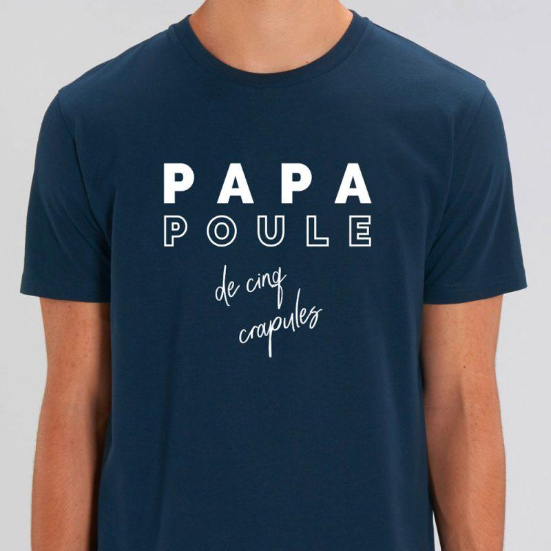 t-shirt bleu marine papa poule de 5 crapules