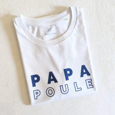 T-shirt papa poule blanc, cadeau à offrir à un homme pour la fête des pères ou pour une naissance. Disponible pour tous les dad of one, dad of two, dad of three