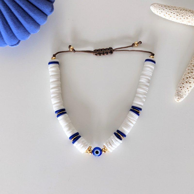 Bracelet Santorin avec oeil bleu, symbole du mauvais oeil