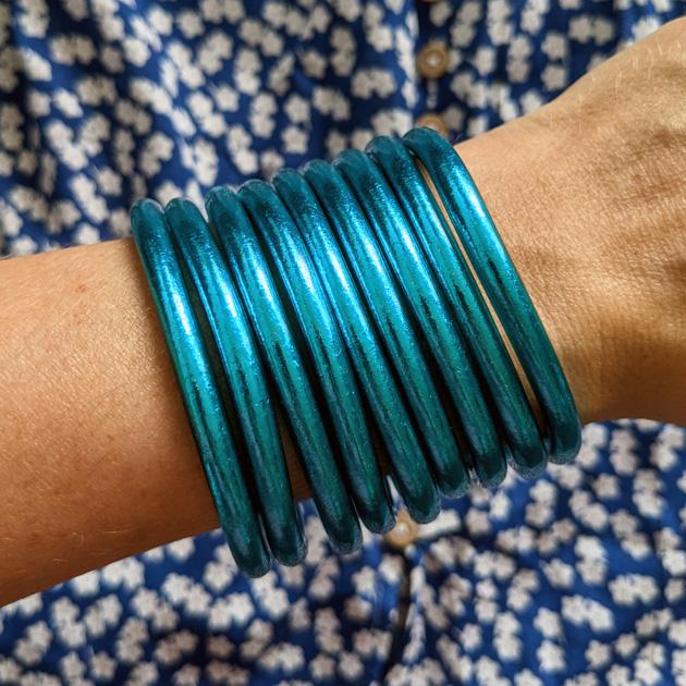 Bracelet jonc bouddhiste bleu Maia et Zoé