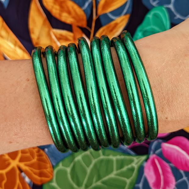 Bracelet jonc bouddhiste vert Maia et Zoé