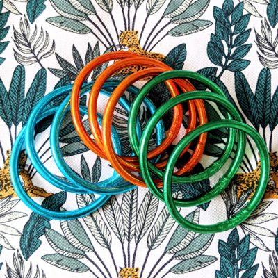 Bracelet jonc bouddhiste bleu, vert et orange Maia et Zoé