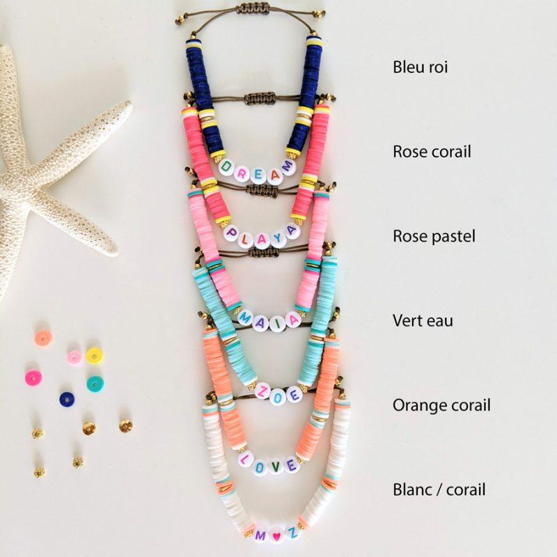 Bracelets Little Words Summer edition aux perles heishi et plaqué or, à personnaliser aux prénoms des vos enfants ou d'un mot mantra
