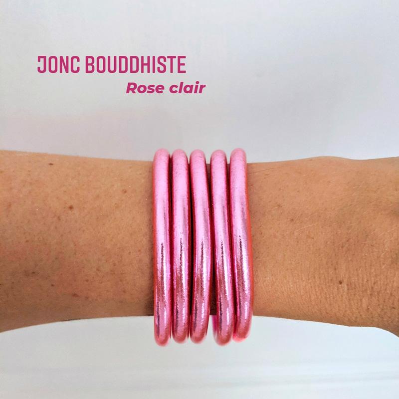Bracelet de temple jonc bouddhiste rose clair ou light pink