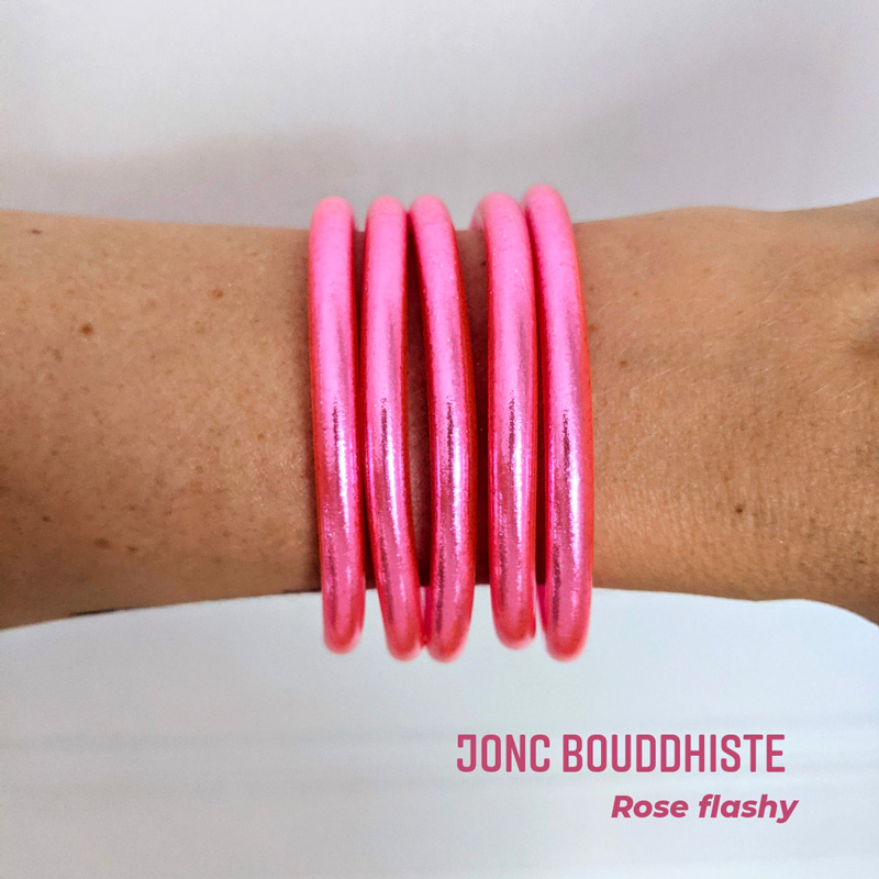 Bracelet de temple jonc bouddhiste rose flashy ou flashy pink