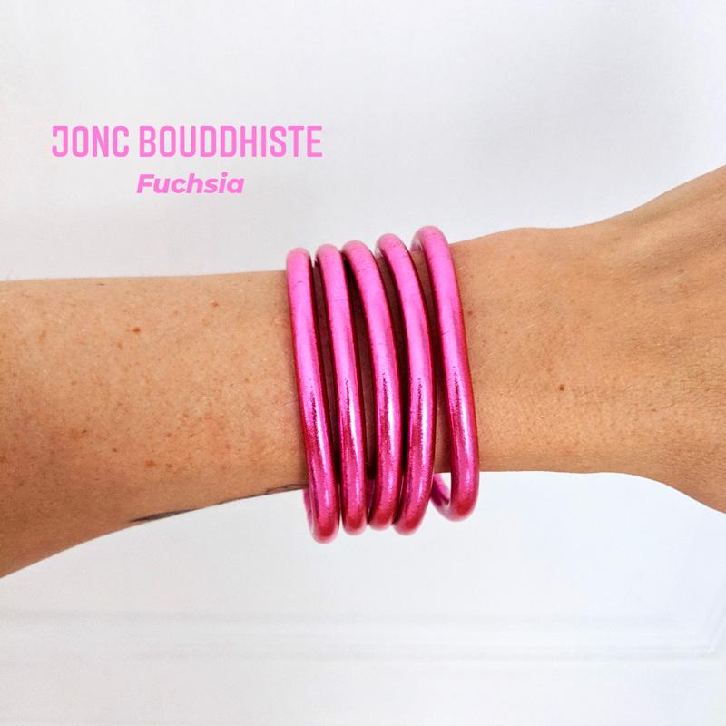 Bracelet de temple jonc bouddhiste rose fuchsia