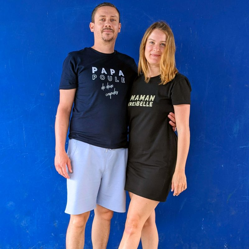 Tee-shirt papa poule et robe maman rebelle pour un parfait duo papa-maman