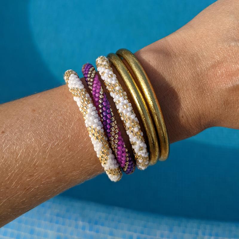 Bracelets népalais blanc et or Maia et Zoé