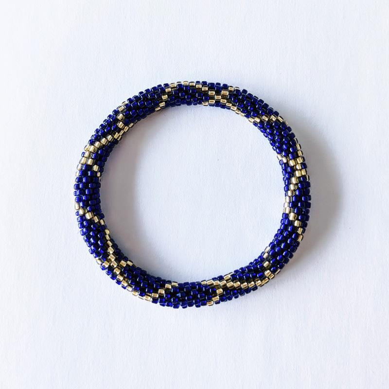 Bracelet népalais bleu nuit et doré - Maia et Zoé
