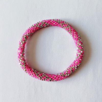 Bracelet népalais rose et argent - Maia et Zoé