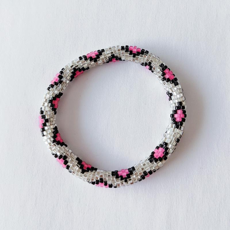 Bracelet népalais argent et rose imprimé leopard - Maia et Zoé