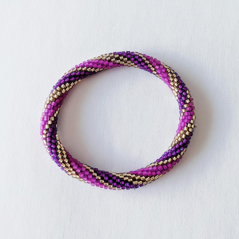 Bracelet népalais spirale violet et rose - Maia et Zoé