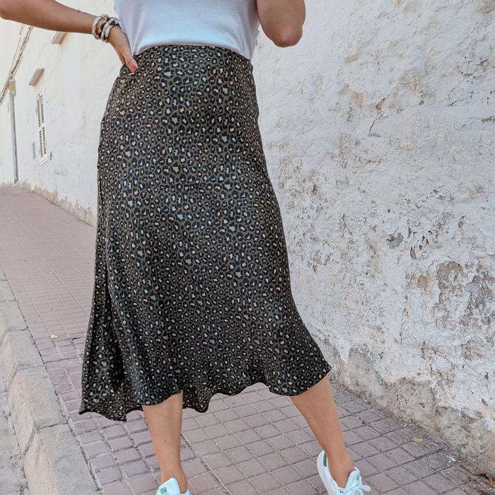 Jupe kaki leopard Claudia