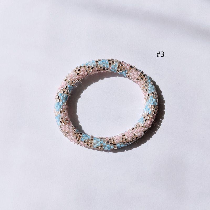 Bracelet népalais pour kid en perle de verre pastel