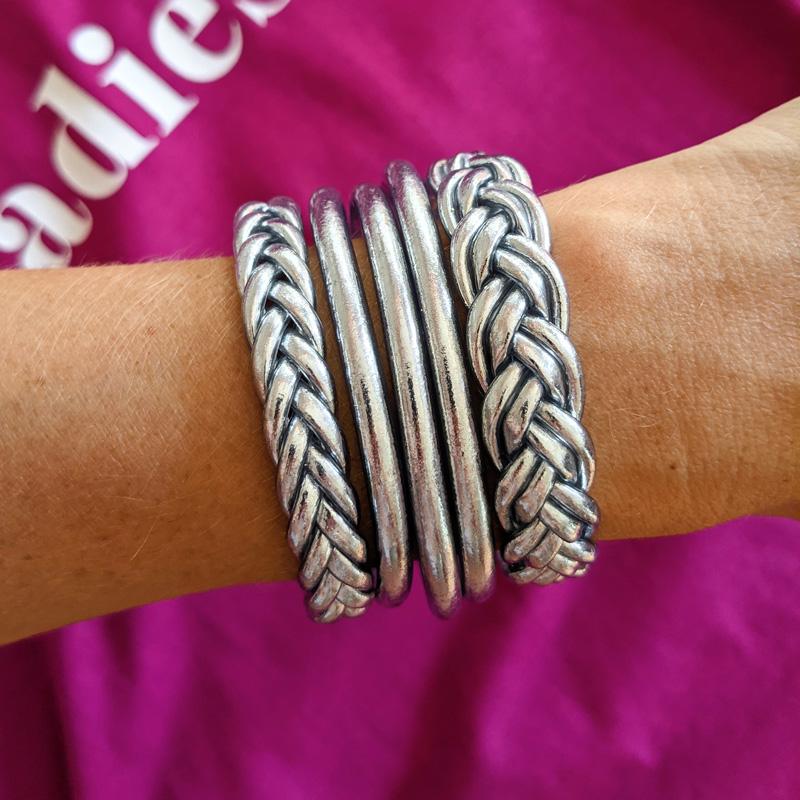 Bracelets joncs bouddhistes silver argent double tressé